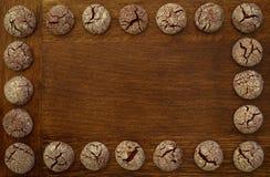 巧克力曲奇饼框架 库存照片