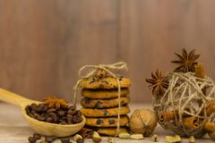 巧克力曲奇饼 肉桂条、豆蔻果实和八角 库存照片
