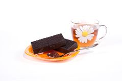 巧克力杯子茶 免版税图库摄影
