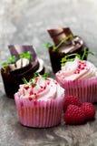 巧克力杯形蛋糕用新鲜的莓和奶油在木t 库存图片