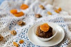 巧克力杯形蛋糕用杏干和核桃 免版税库存图片