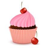 巧克力杯形蛋糕用樱桃 免版税库存图片