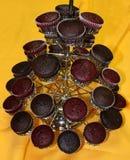 巧克力杯形蛋糕石榴 免版税库存图片