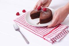 巧克力松糕和莓沙漠 库存照片