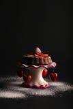 巧克力松糕用草莓和糖粉在立场w 免版税库存图片