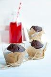 巧克力松饼和蔓越橘汁 免版税库存图片