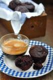 巧克力松饼用咖啡 库存照片