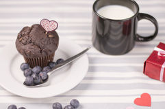 巧克力松饼用牛奶 免版税库存图片