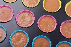 巧克力松饼的准备 免版税图库摄影