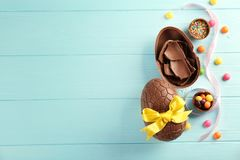 巧克力构成复活节彩蛋 库存图片