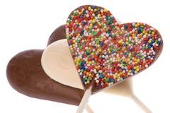 巧克力查出的棒棒糖 免版税图库摄影