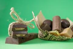 巧克力查出的甜点块菌 图库摄影