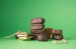 巧克力查出的甜点块菌 库存照片
