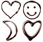 巧克力标志:心脏,微笑,月亮 免版税图库摄影