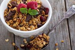 巧克力格兰诺拉麦片早餐 免版税库存图片