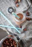 巧克力榛子牛奶 免版税库存照片
