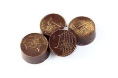巧克力欧元硬币 库存照片