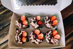 巧克力沫丝淋冠上了用切的草莓、花生在巧克力和蛋白软糖 拿走食物 点心 免版税图库摄影