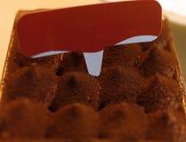 巧克力沫丝淋蛋糕 点心洒与巧克力粉末 巧克力粉末山与卡片的对此 免版税库存图片