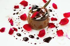巧克力沫丝淋,玫瑰色叶子,在背景的糖浆下落 库存图片