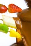 巧克力涮制菜肴 免版税库存照片