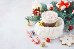 巧克力热饮或可可粉与打好的奶油 库存图片