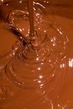 巧克力熔化牛奶 免版税库存照片