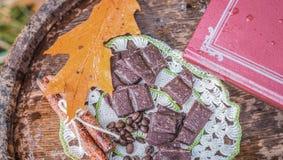 巧克力片断在一本接近的书附近的 库存照片