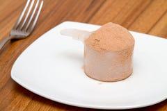 巧克力牌照蛋白质瓢乳清 免版税库存图片