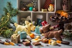 巧克力狗和糖果在轻的背景 库存图片