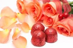 巧克力玫瑰华伦泰 免版税库存图片
