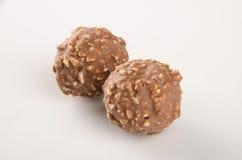 巧克力球或块菌状巧克力在背景 免版税库存照片