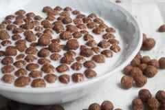 巧克力球用在一块白色板材的牛奶 免版税库存照片
