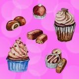 巧克力甜点水彩绘画  图库摄影