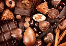 巧克力甜点背景 免版税库存图片