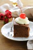 巧克力生日蛋糕用樱桃和奶油 免版税库存照片