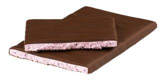 巧克力用填装在白色背景的酸奶 免版税库存照片