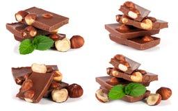巧克力用榛子和薄菏在白色背景生叶隔绝 集合或汇集 库存照片