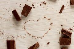 从巧克力的心脏形状 库存图片