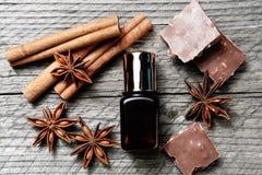 巧克力皮肤治疗 有化妆水的,可可粉,茴香,肉桂条化妆瓶子 免版税库存图片