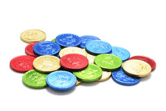 巧克力硬币 免版税图库摄影