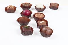 巧克力糖和果仁糖的分类 免版税库存图片