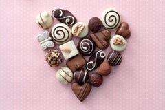 巧克力糖心脏 库存图片