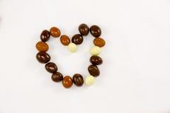 巧克力糖的心脏 免版税库存照片
