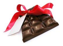 巧克力红色丝带st 免版税库存图片