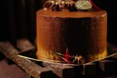 巧克力自创蛋糕 库存照片