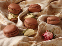 巧克力蛋白杏仁饼干用柠檬酱 免版税库存图片