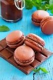 巧克力蛋白杏仁饼干蛋糕 库存图片