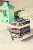 巧克力蛋糕。musse和尚蒂伊奶油 免版税图库摄影