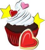 巧克力蛋糕为生日和假日,装饰用心脏和星 皇族释放例证